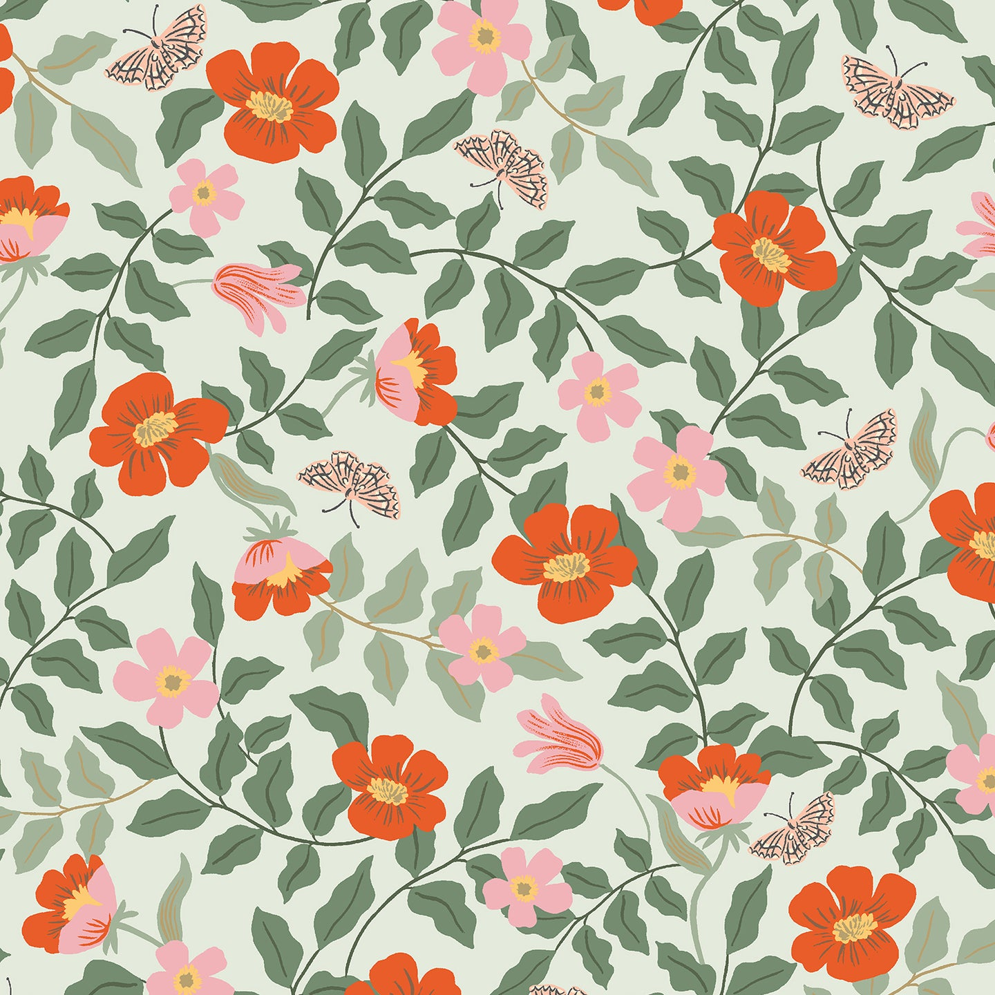 C+S Rifle Paper Co. Strawberry Fields - Primrose - Mint Rayon Fabric