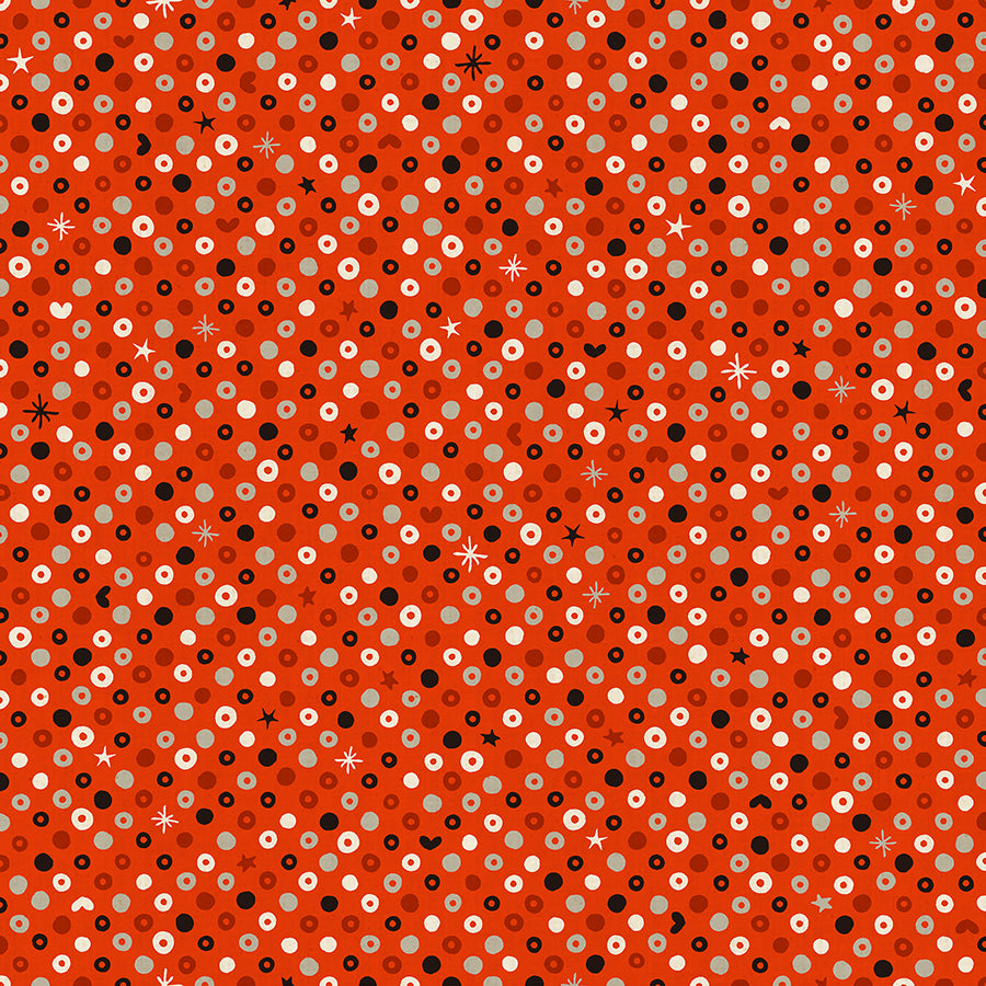 C+S Waku Waku Christmas - Sequins - Red Unbleached Fabric