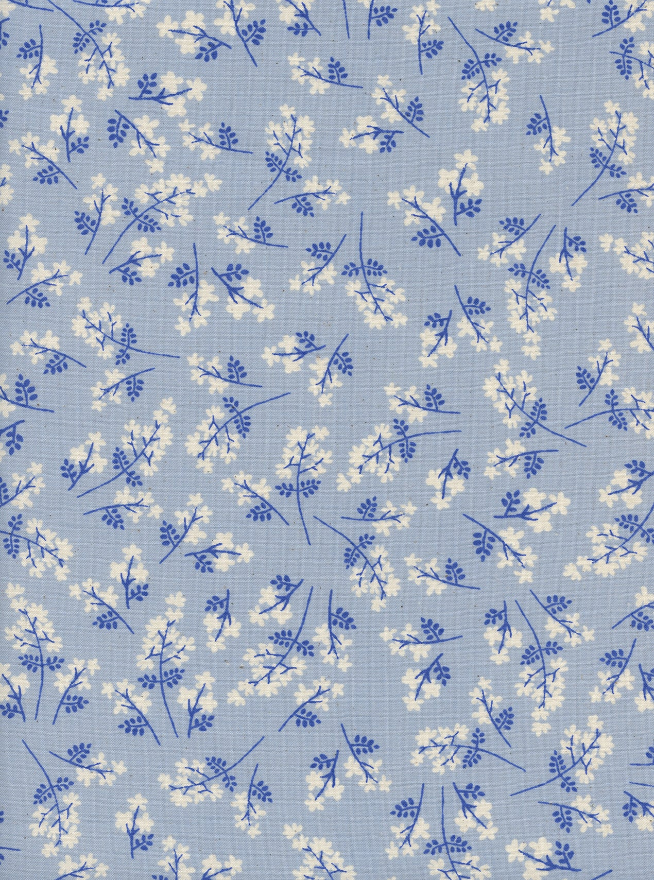 C+S S.S. Bluebird - Bouquet - Blue Unbleached Cotton Fabric