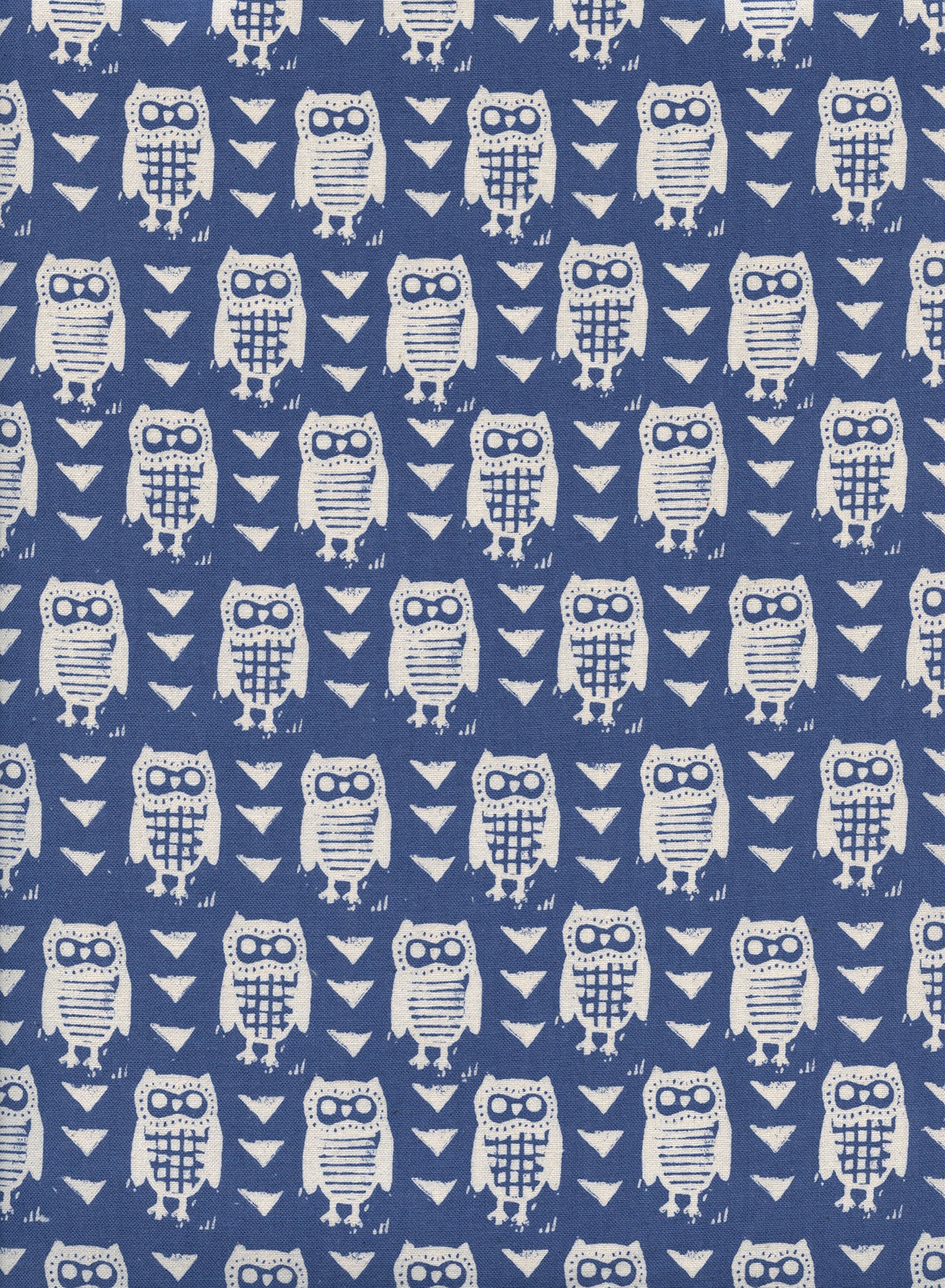 C+S Firelight - Hooties - Blue Unbleached Cotton Fabric