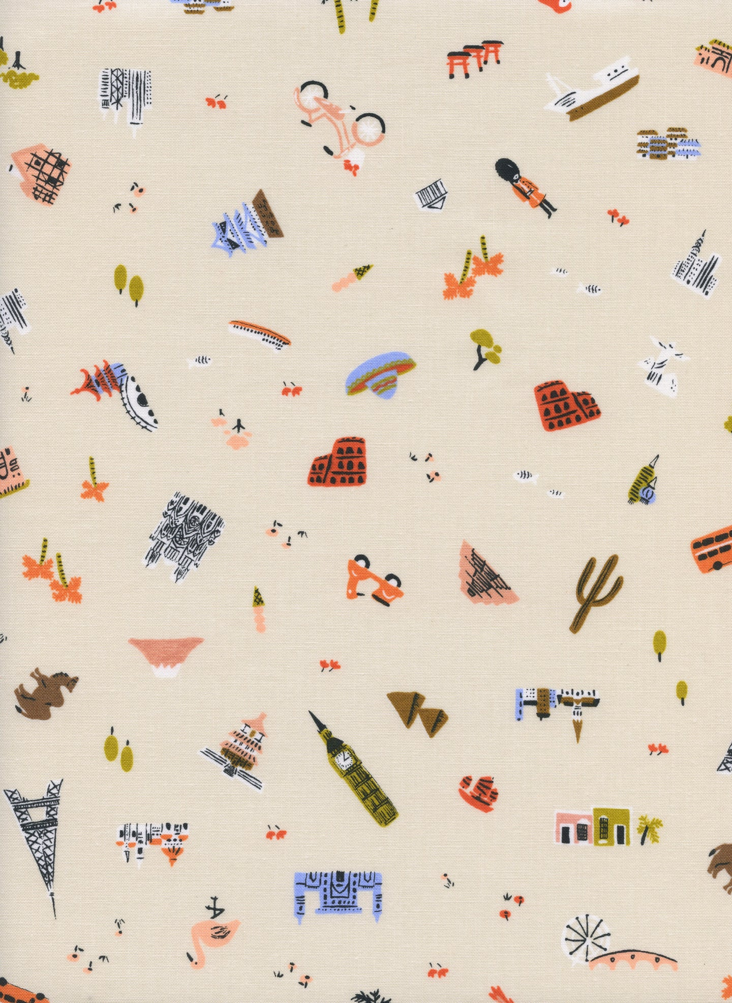 C+S Rifle Paper Co. Amalfi - Explorer - Natural Unbleached Cotton Fabric