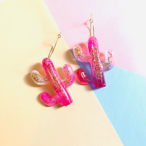 Cacti Resin Hoop Earrings - v1