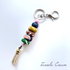 Colourful Beaded Key Chain with Tassel - Cream
