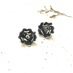 Black Floral Studs - Sample
