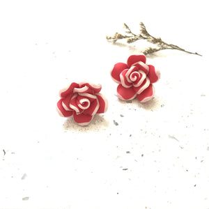 Red Floral Studs - Sample