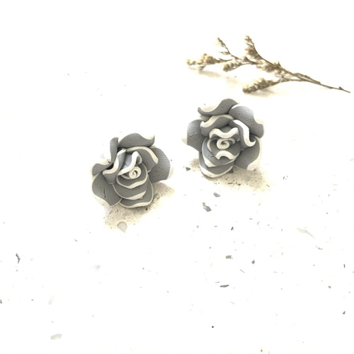 Grey Floral Studs - Sample
