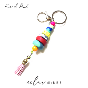 Colourful Beaded Key Chain with Tassel - Pink - v2