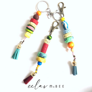 Colourful Beaded Key Chain with Tassel - Turquoise - v2