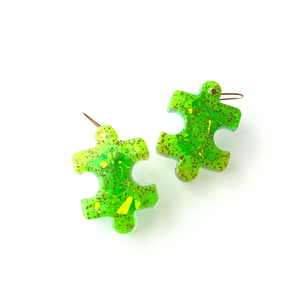 Puzzle Resin Earrings (Bright Green) - Sample