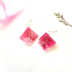 Square Resin Earrings (Milky Red) - v2