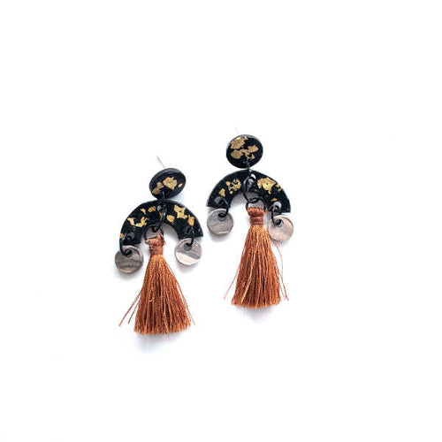 A Bit of Gold Black Statement Copper Tassel Earrings - Sample