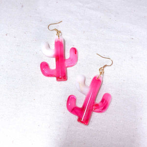 Cacti Resin Earrings (Milky Red)