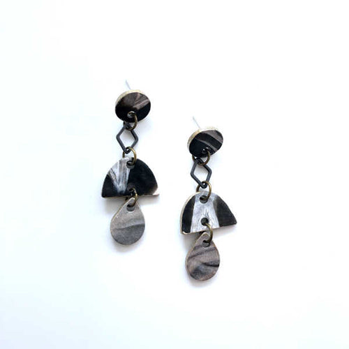 Marbling Statement Drop Earrings - Sample