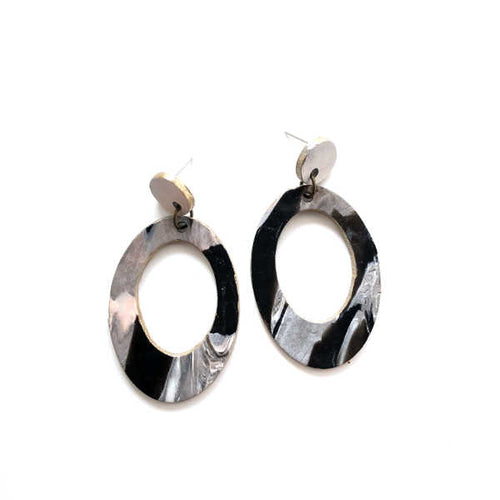 Marbling Statement Drop Oval Earrings - v2 - Sample