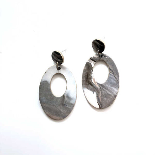 Marbling Statement Drop Oval Earrings (Glossy) - v3 - Sample