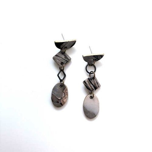Marbling Statement Drop Oval Earrings - Sample