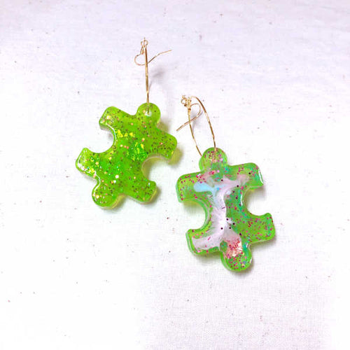 Puzzle Resin Earrings (Lime)