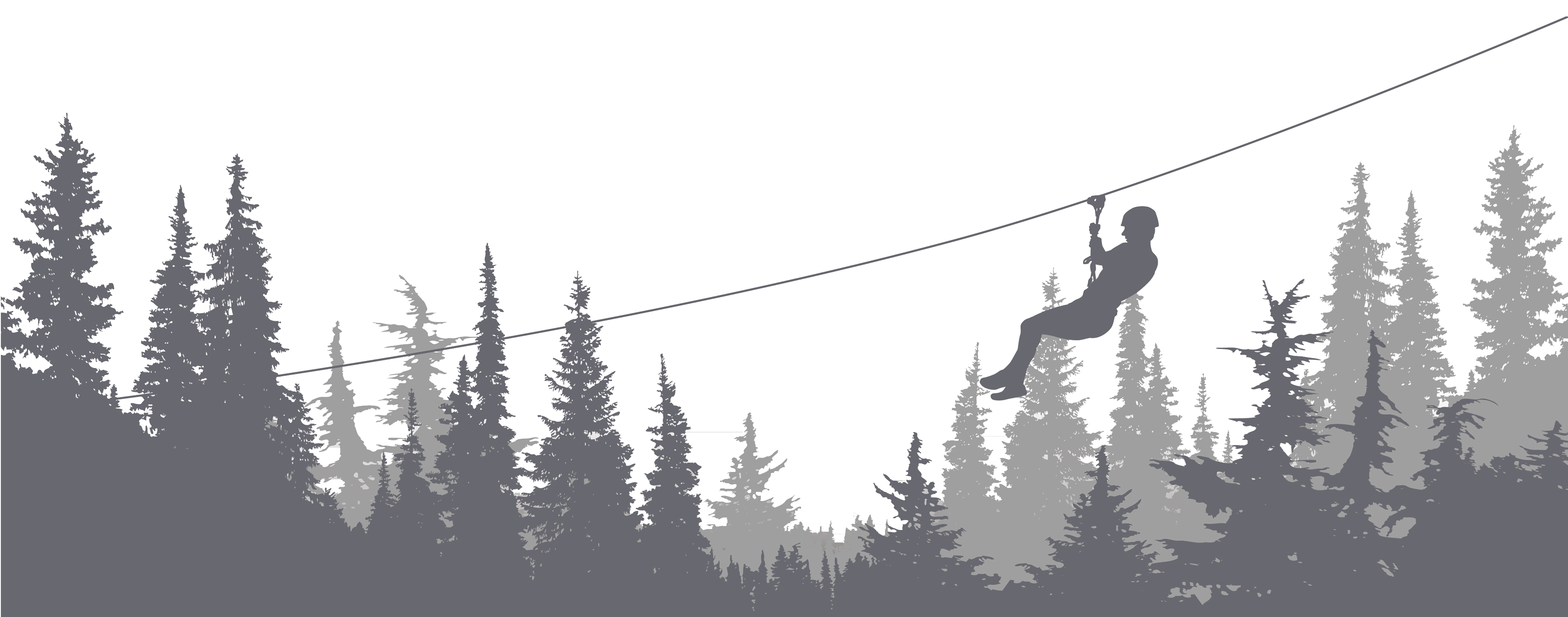 Person on zip line above trees