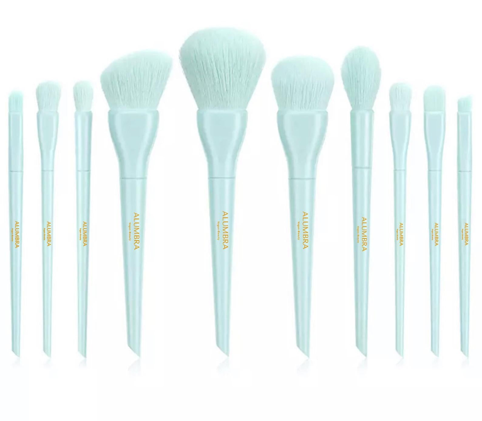Blue Vegan Makeup Brush Set