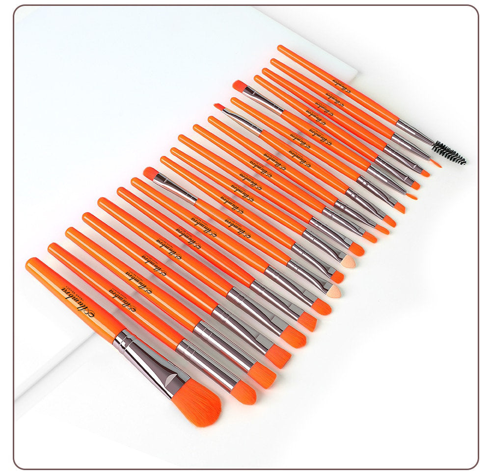 20 PCS Vegan Makeup Brush Set - Orange