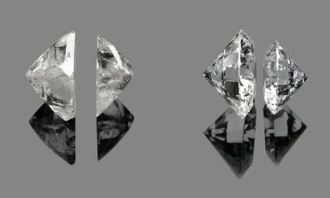 Before and after cutting of a diamond