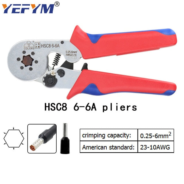 Tubular terminal crimping tools mini electrical pliers HSC8 10SA/6-4 0.25-10mm2 23-7AWG 6-6A 0.25-6mm2 high precision clamp set