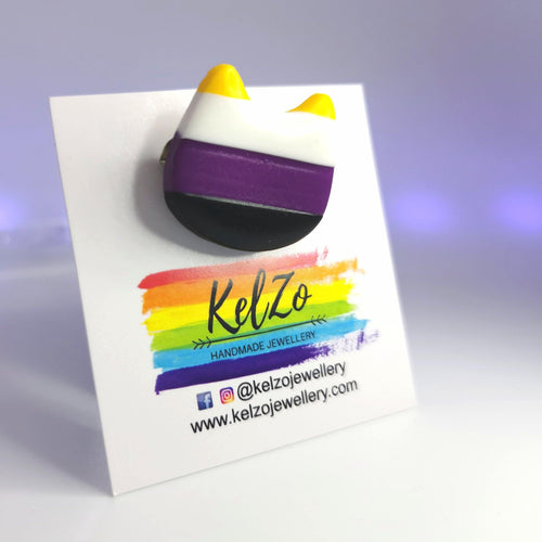 Non Binary Kitten Badge - KelZo Jewellery