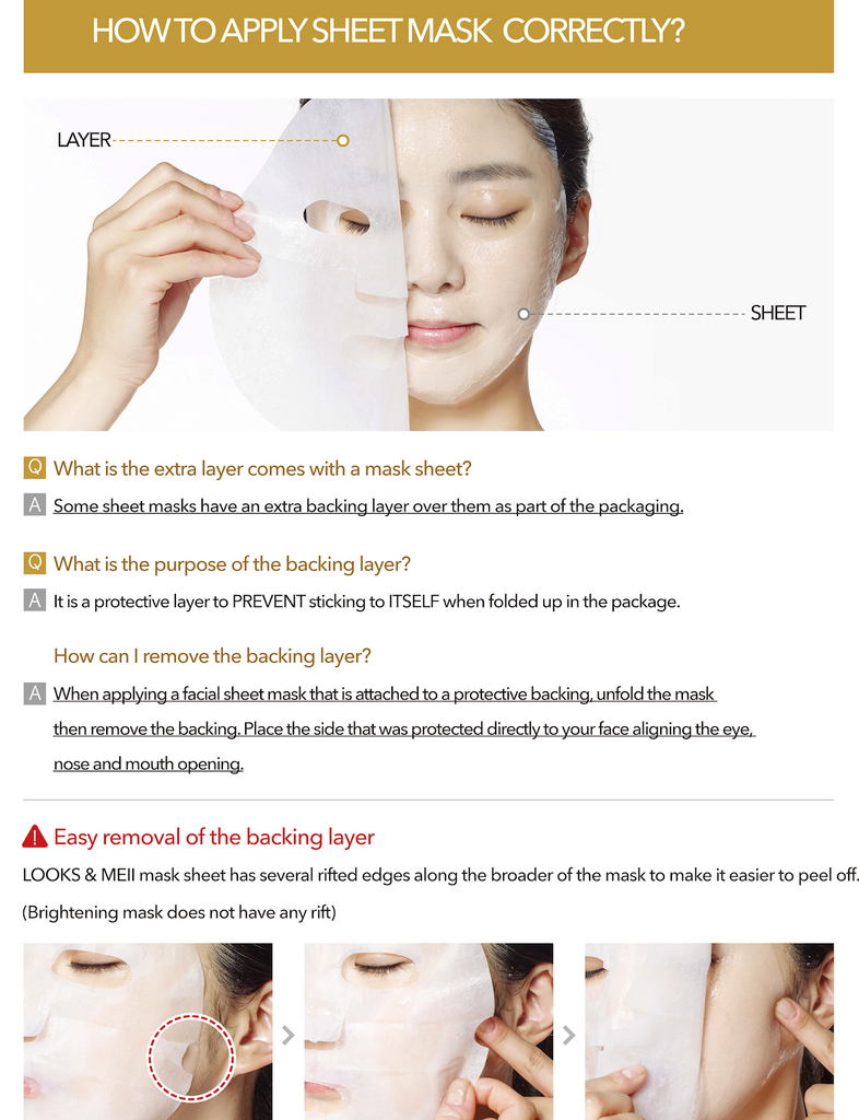 How to Apply LOOKS & MEII Facial Masks