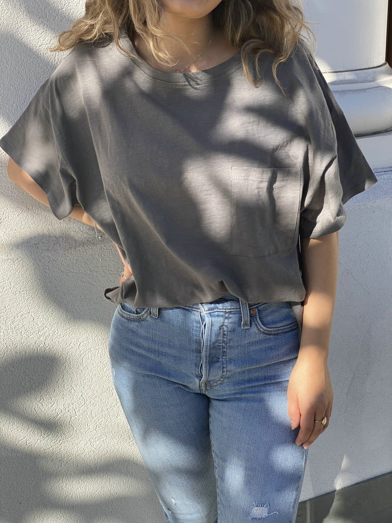 oversized cotton pocket tee