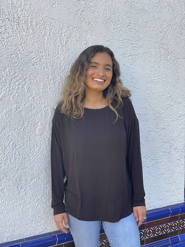 bamboo dolman long sleeve-black