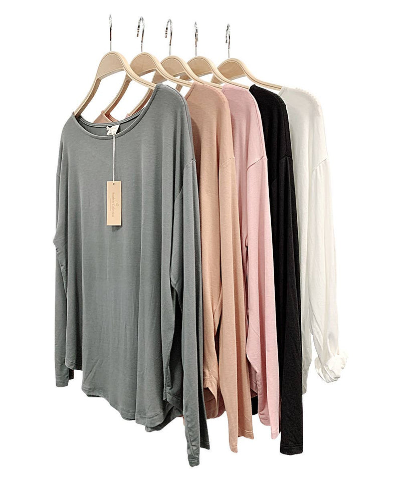 bamboo dolman long sleeve -light blush
