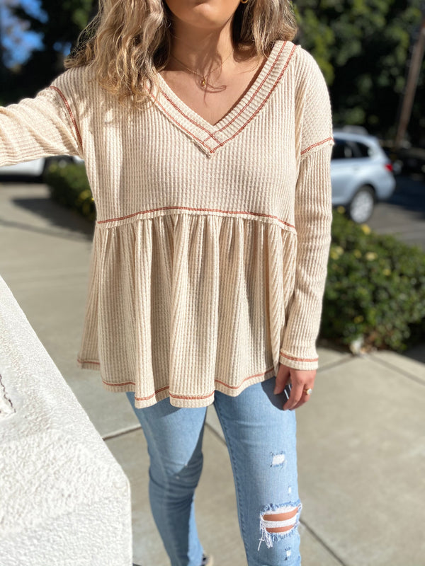 oversized long sleeve baby-doll top