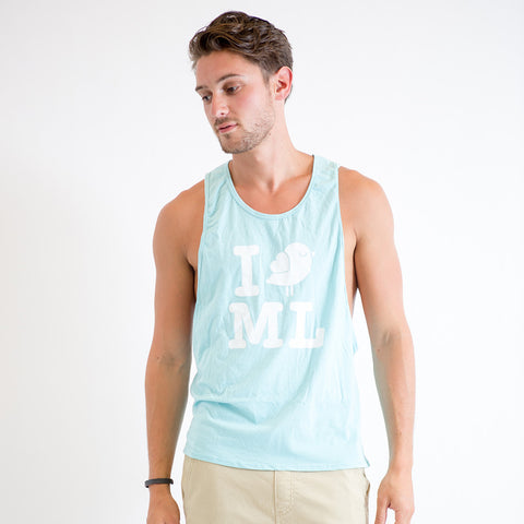 I Bird ML Loose Sleeve Tank (Blue)