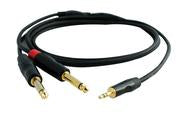 "3.5mm TRS to 2x 1/4"" TS Audio Cable 3 Foot"