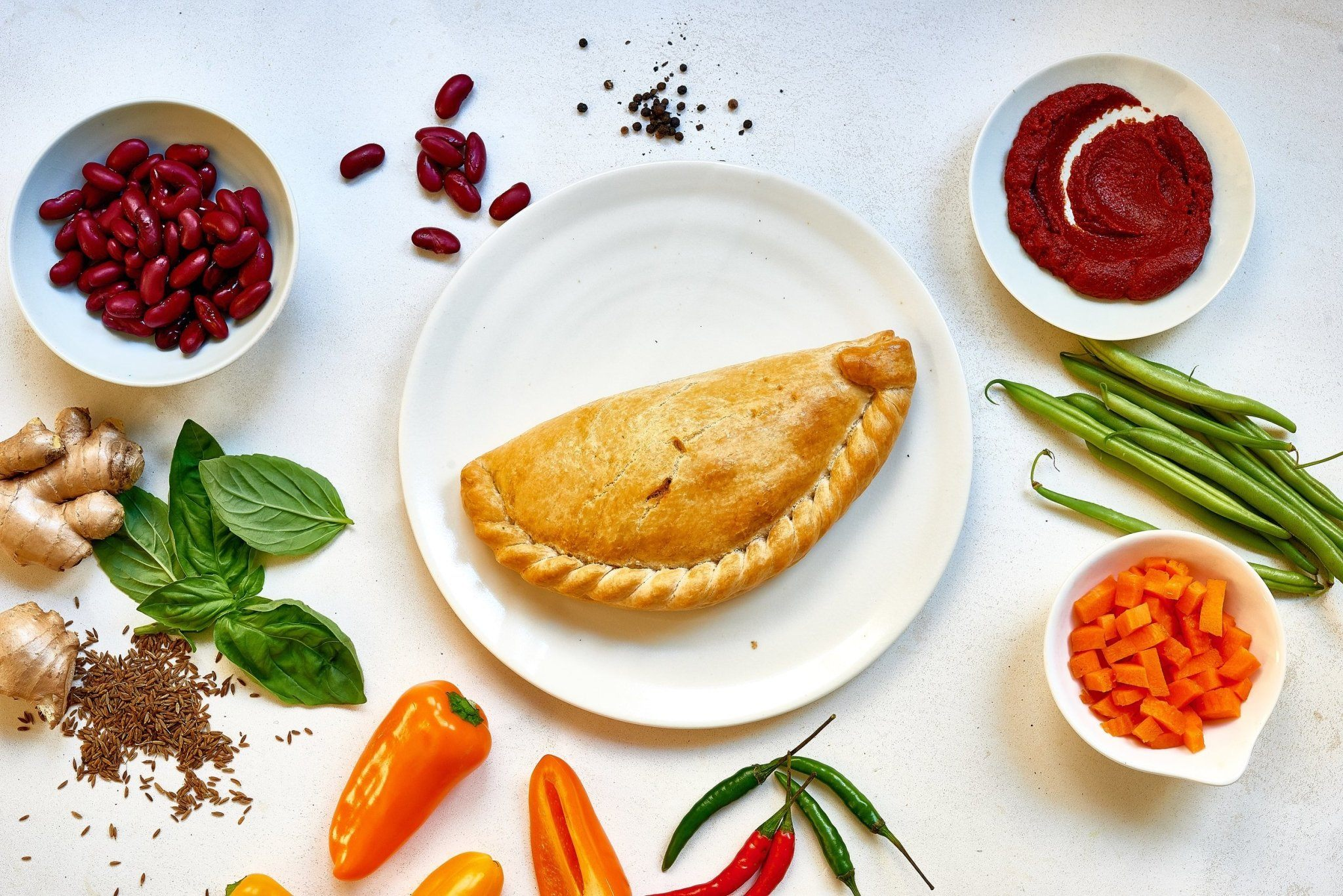 8 x Spicy Mediterranean Vegetable Pasties (Vegan) 283g Frozen - Cornwall Hamper Store