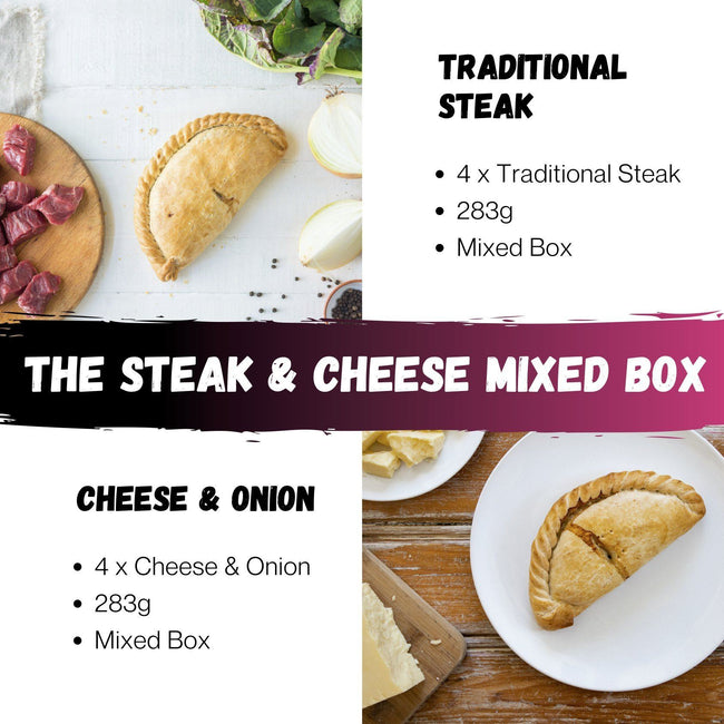 Mixed Pasty Box 4 x Medium Traditional Steak & 4 x Cheese & Onion - Cornwall Hamper Store