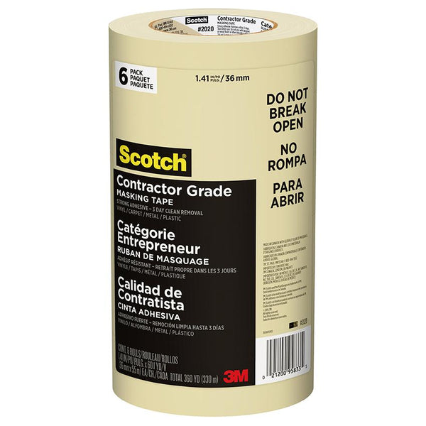 "3M 2020 Scotch Tan Masking Tape 1.41"" x 180' 6-Pack"