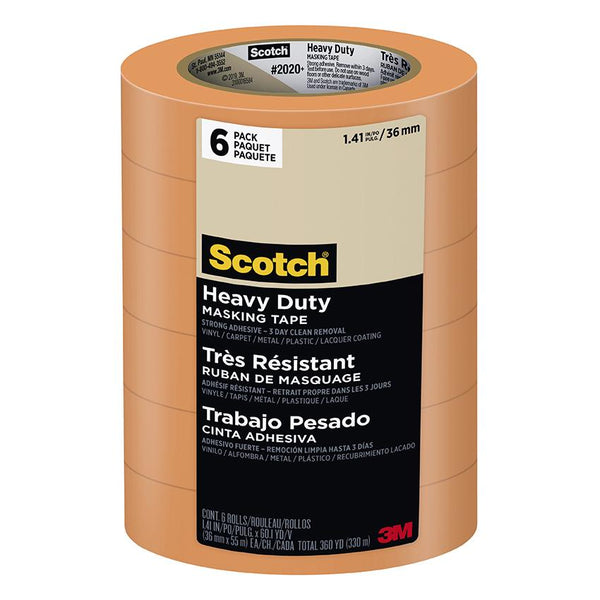 "3M 2020+ Scotch Masking Orange Tape 1.41""x180' 6-Pack"