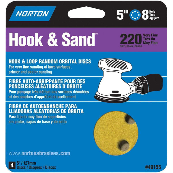 "Norton 5"" Hook & Sand Orbital Discs 4pk"