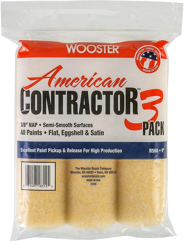 "Wooster 9"" X 3/8"" American Contractor Roller Cover 3pk"