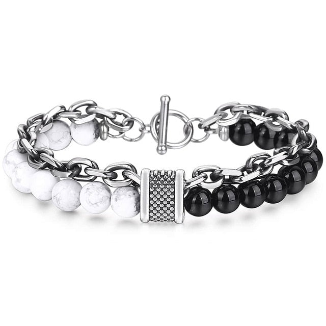 White Turquoise/Glass Stone & Stainless Steel Bracelet