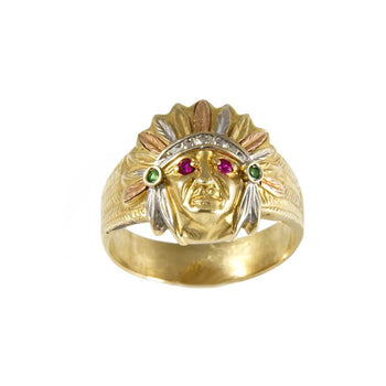 RING GOLD 14KT TRI-COLORS WITH CUBIC ZIRCONIA