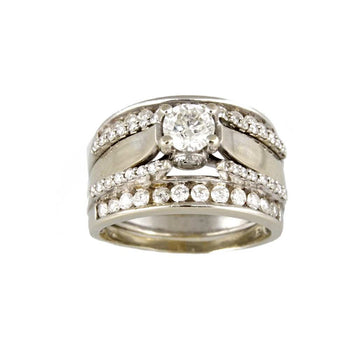 RING WHITE GOLD 14KT WITH DIAMONDS