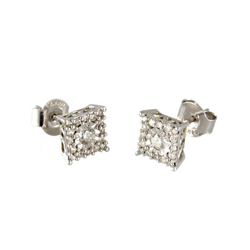 EARRINGS WHITE GOLD 14KT WITH DIAMONDS