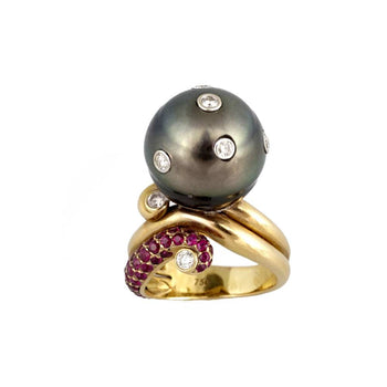 RING YELLOW GOLD 18KT WITH PEARLS