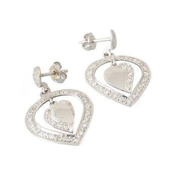 EARRINGS WHITE GOLD 14KT WITH CUBIC ZIRCONIA