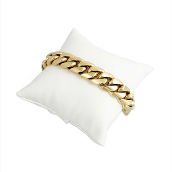 BRACELET YELLOW GOLD 14KT CUBAN LINK