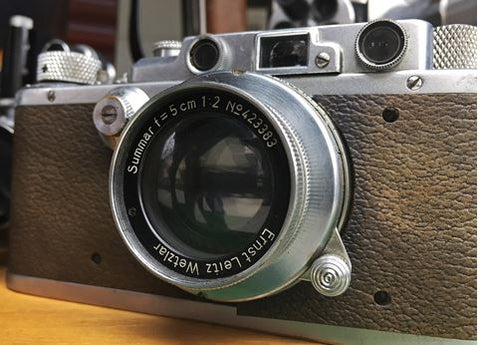 Leica Camera with Leather Camera Neck Strap