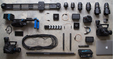 photography equipment laid out together