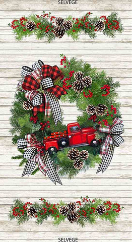 "24"" RED TRUCK WREATH PANEL"